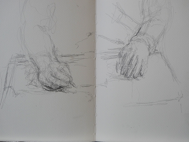 Jen's hands drawing