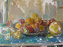 still life with russet apples and melon