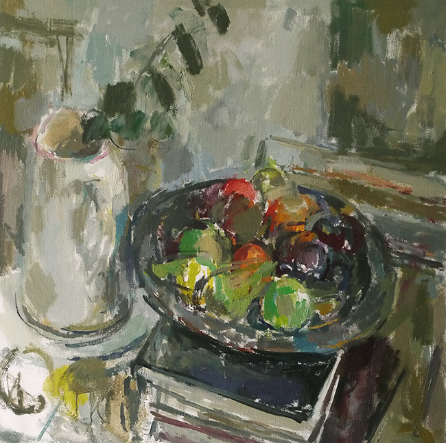 still life with jug and wooden plate