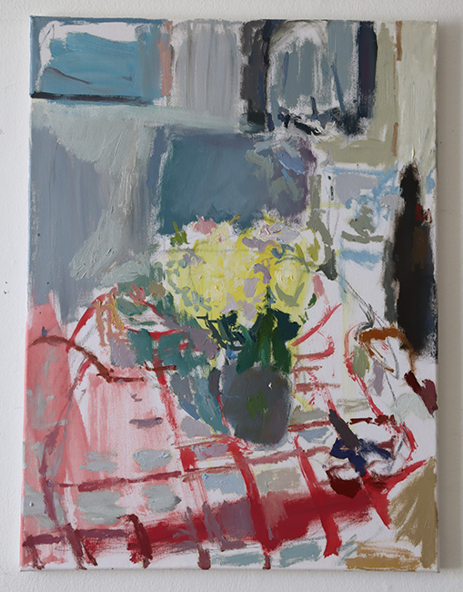 flowers and tablecloth