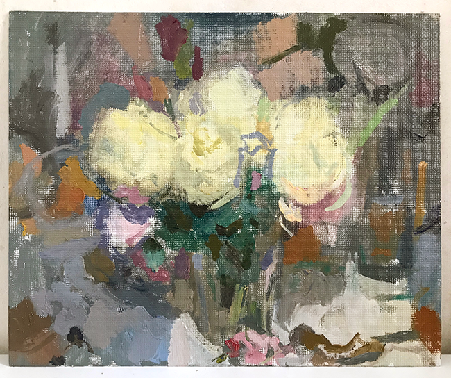 pale yellow roses, evening